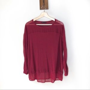 Zara dark red mesh panel Crewneck blouse